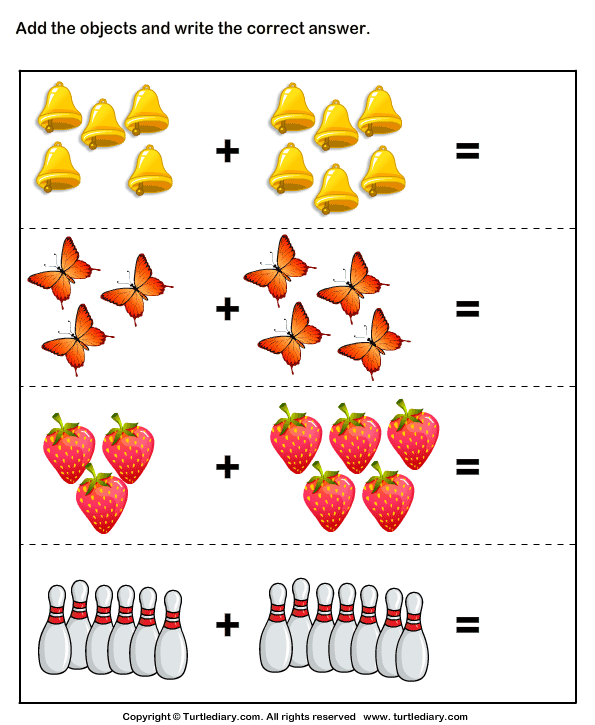 addition using objects