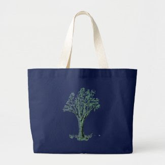 Sketched Tree Design on Jumbo Tote Bag