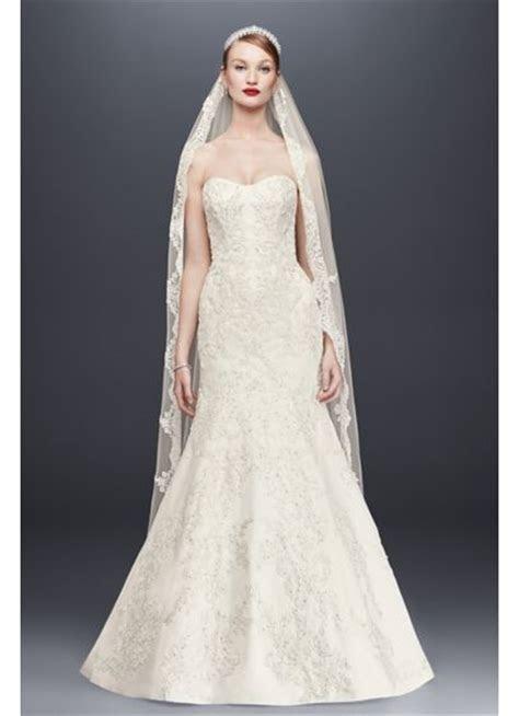 Oleg Cassini Satin Lace Strapless Wedding Dress   David's