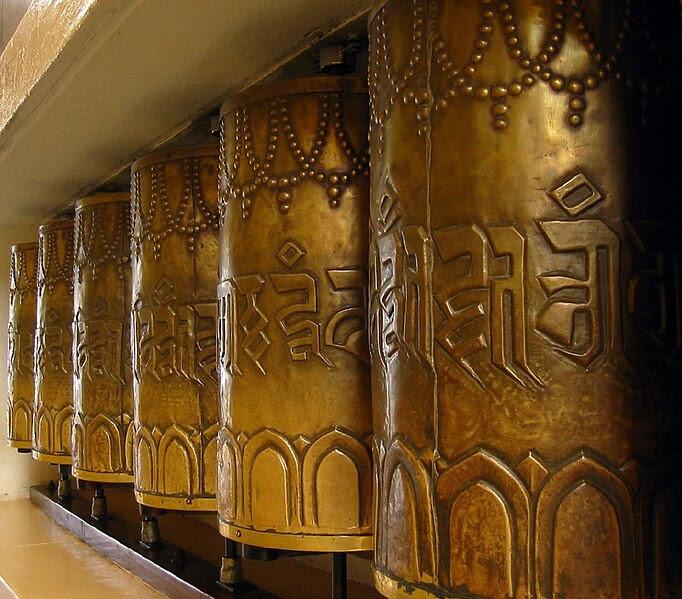 File:Prayer wheels, surrounding the Tsuglagkhang Temple in McLeod Ganj.jpg