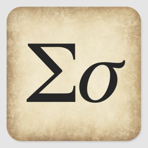 Greek Alphabet Letter Sigma Square Sticker