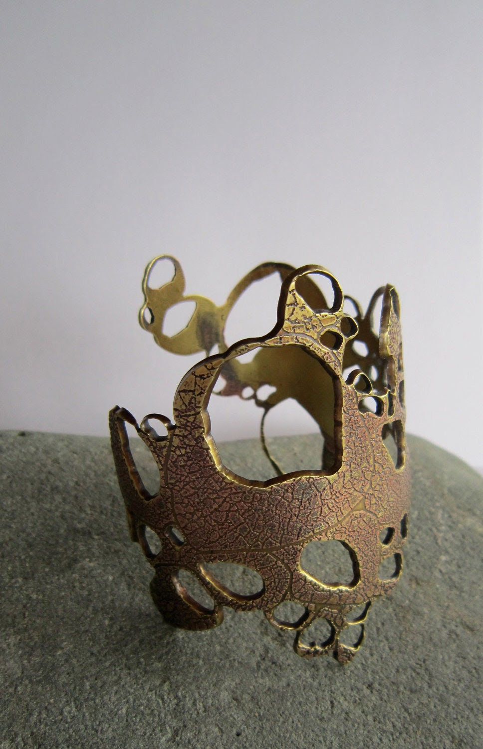 Etched Solid Brass Barnacle Cuff Wearable Art, Handcrafted Jewelry - KarenBlackerby