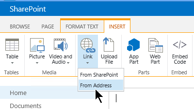 SharePoint Insert link button