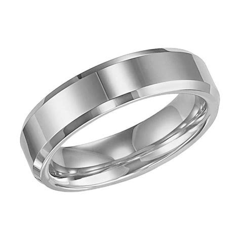 6mm wide polished tungsten carbide mens wedding band with