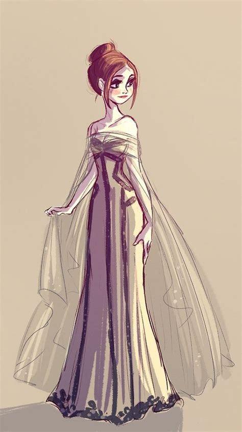 beautiful dress character design character drawing