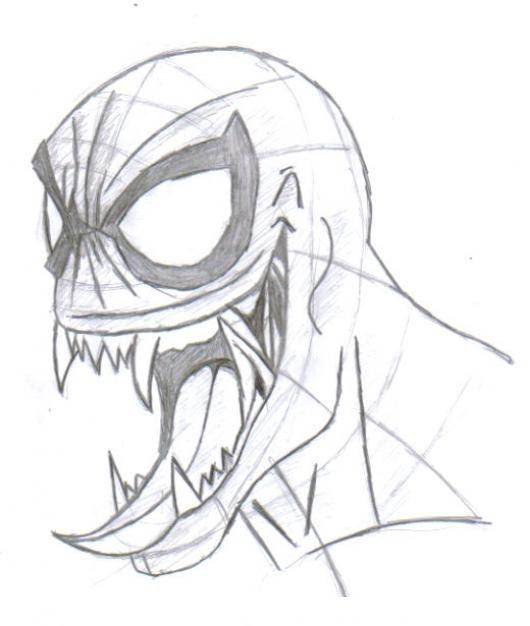 Dibujo De Venom Con Mascara De Hombre Arana Para Pintar Y Colorear