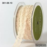 Вязаное кружево NATURAL, ширина 1,6см, длина 90 см, цвет бежевый - ScrapUA.com