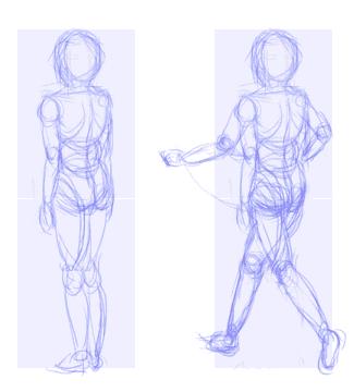 Opencanvasで描く簡単イラスト講座 人体のバランス2 身体を動かす