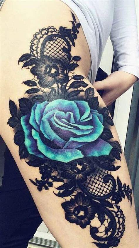 realistic lace tattoo ideas thigh tattoos