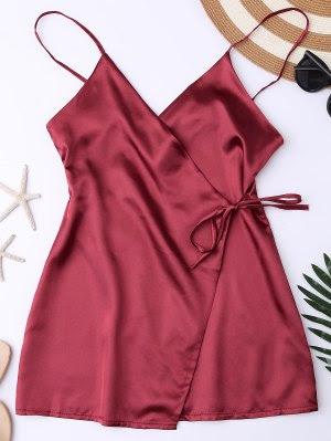 Cami Wrap Slip Dress - Wine Red