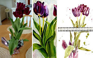 Easter Flowers, Fresh, Oil and Watercolor sketch