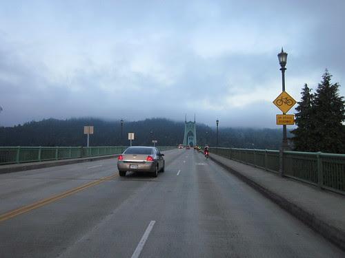 Riders on the St Johns Bridge