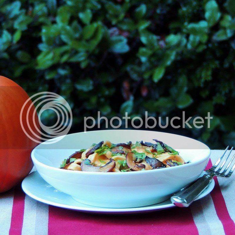 Pumpkin Alfredo with Roasted Garlic and Mushrooms