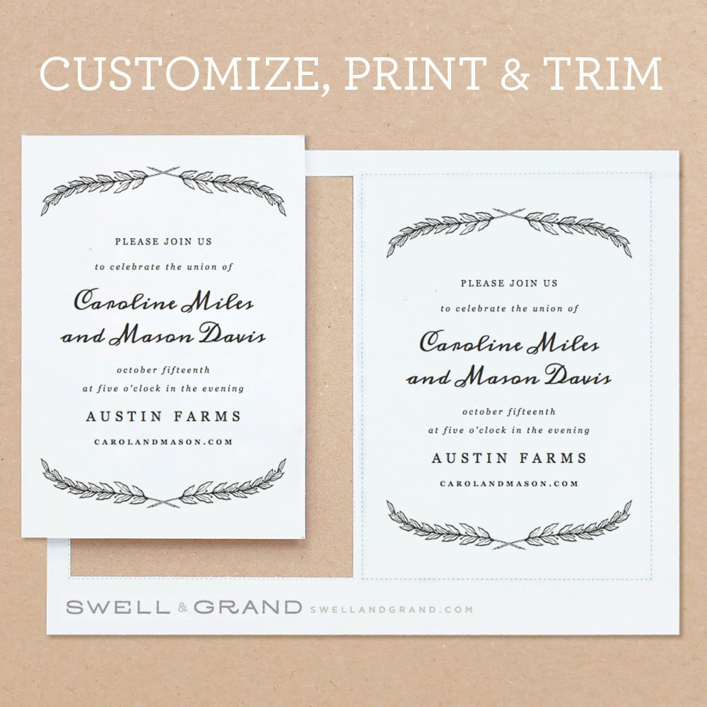 printable wedding invitation template instant download quill