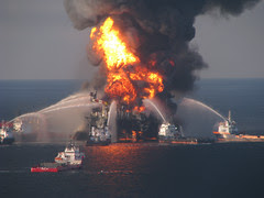 Deepwater Horizon on fire April 22, 2010