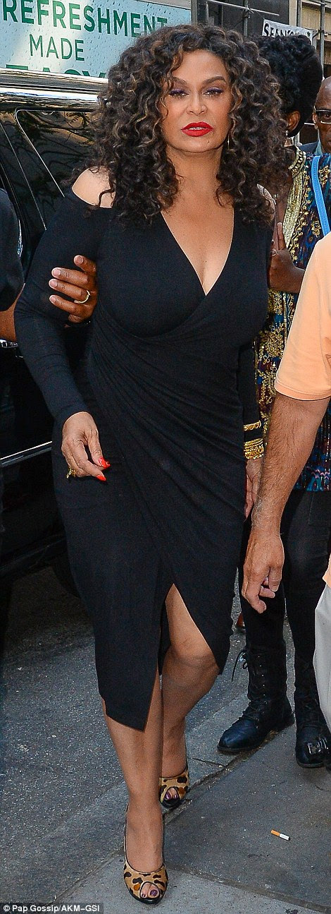 Big day: Beyonce's mother Tina Knowles-Lawson was spotted leaving an appearance on the Today Show on Monday morning as she sported an LBD