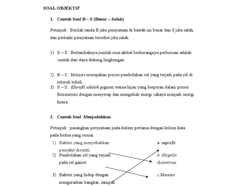 Contoh Soal Menjodohkan Bahasa Indonesia Sd Jejak Pelajar
