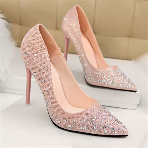 pink beaded pointy toe stiletto heel pumps dressywomencom