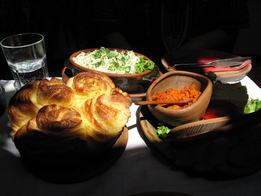 Domaca Pogaca, Kajmak & Ajvar @ Dveri Restaurant, Sarajevo