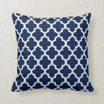 Navy Blue & White Quatrefoil Design | DIY Color Throw Pillow