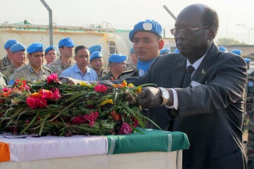 Republic of South Sudan official Dr. Barnaba Marial Benjamin lays reef for Indian troops killed in South Sudan. The country is being plunged into a civil war. by Pan-African News Wire File Photos