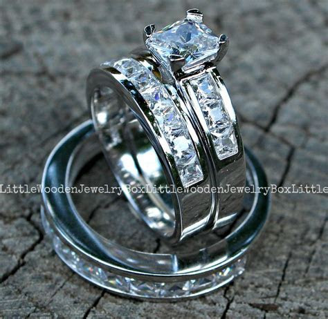 His and Hers 925 Sterling Silver 14k White Gold Engagement