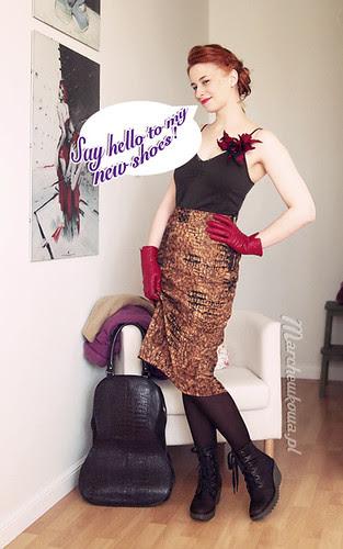 marchewkowa, szafiarka, krawiectwo, szycie, retro, vintage, moda, spódnica z aksamitu w panterkę, buty, koturny zimowe Fly London z Schaffashoes, top Motivi, sweter, kwiat, H&M, kolczyki Kruk, torebka, torba wiolonczela Ochnik, żakiet z wełny parzonej, Burda