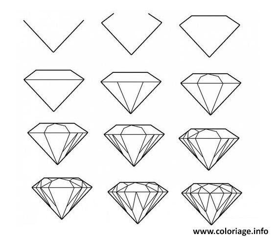 Coloriage Comment Dessiner Un Diamant Jecoloriecom