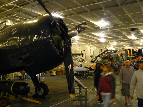 The hanger deck of the Hornet serves today as a museum of naval aviation