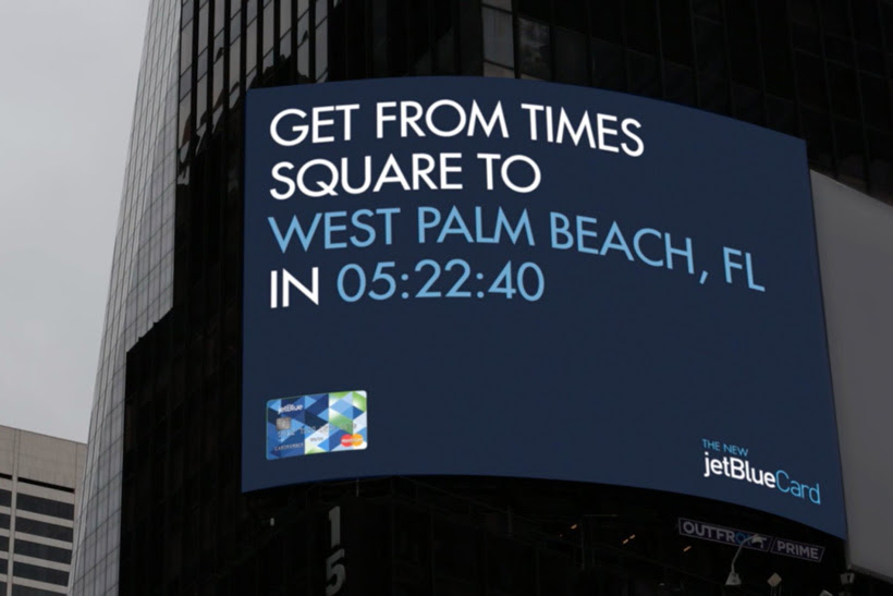 Jetblue Billboard Gives Travel Time To Vacation Spots
