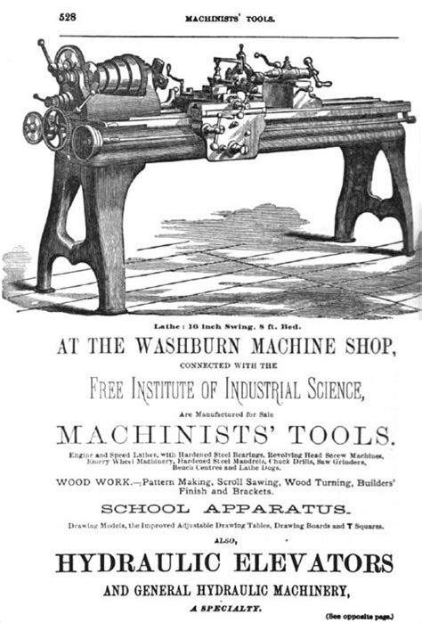 """Washburn Shops - 1880 Ad-Washburn Machine Shop 16"""" Engine"""