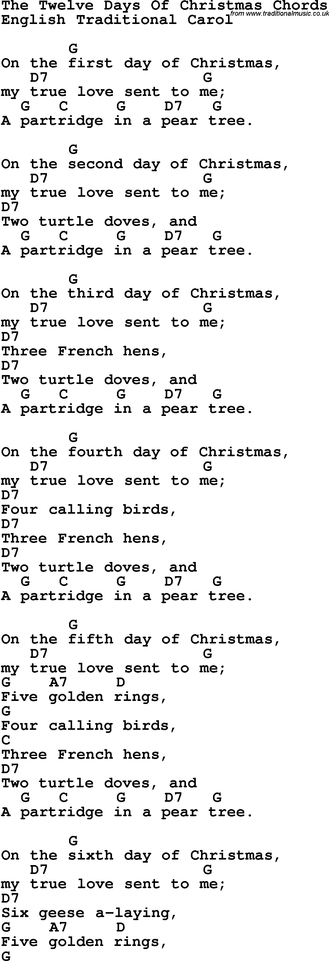 It is a graphic of Dynamic 12 Days of Christmas Song Lyrics Printable