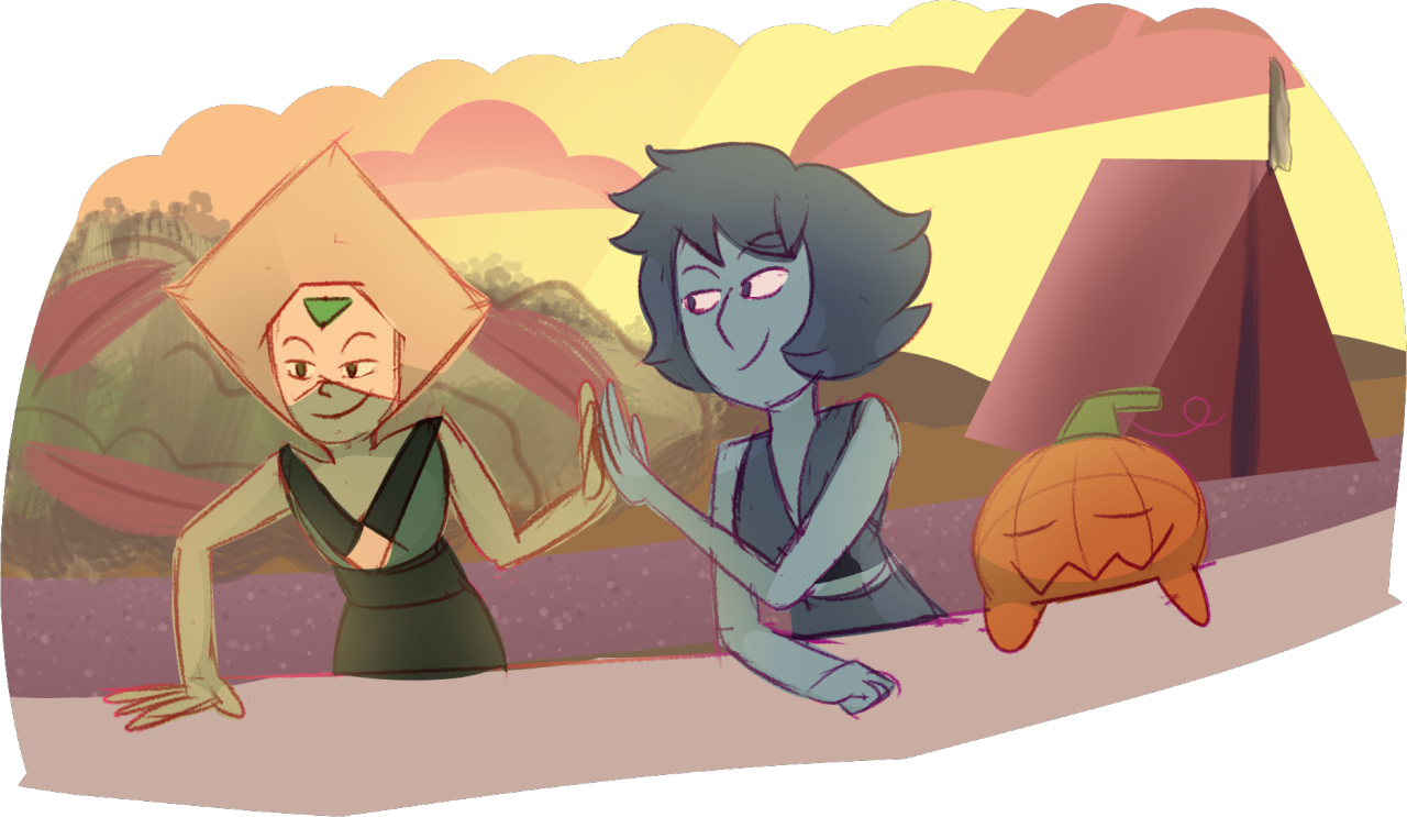 Quick doodle of Lapis and Peridot from Gem Harvest