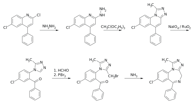 Alprazolam synthesis.svg