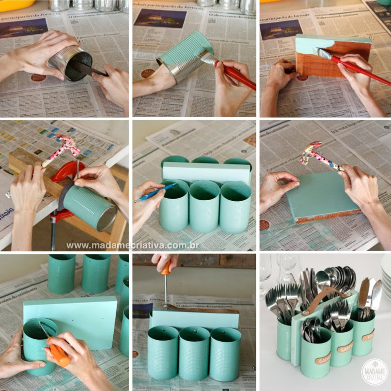 How To Make A Diy Cutlery Holder With Recycled Tin Cans Step By Step