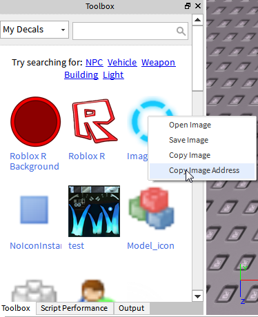 Copy Image Address On A Decal From The Toolbox Should Copy - roblox roblox developer decal