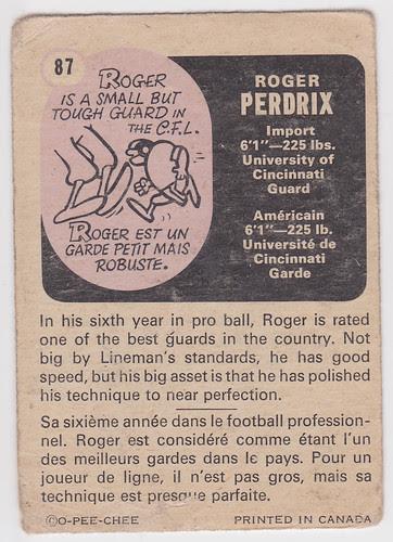 CFL Roger Perdrix - Back