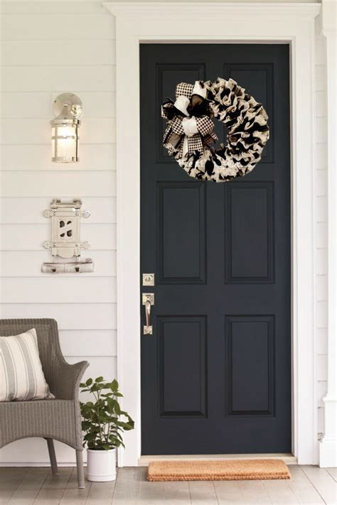 Black and White Wreath for Front Door Year Round Wreath