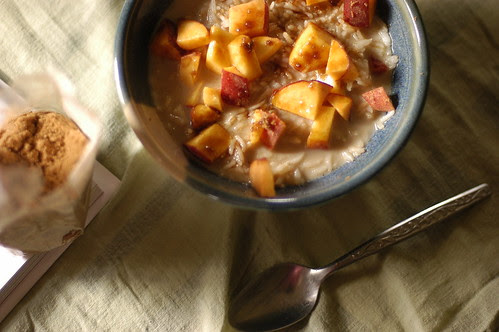 warm rice with milk and peaches