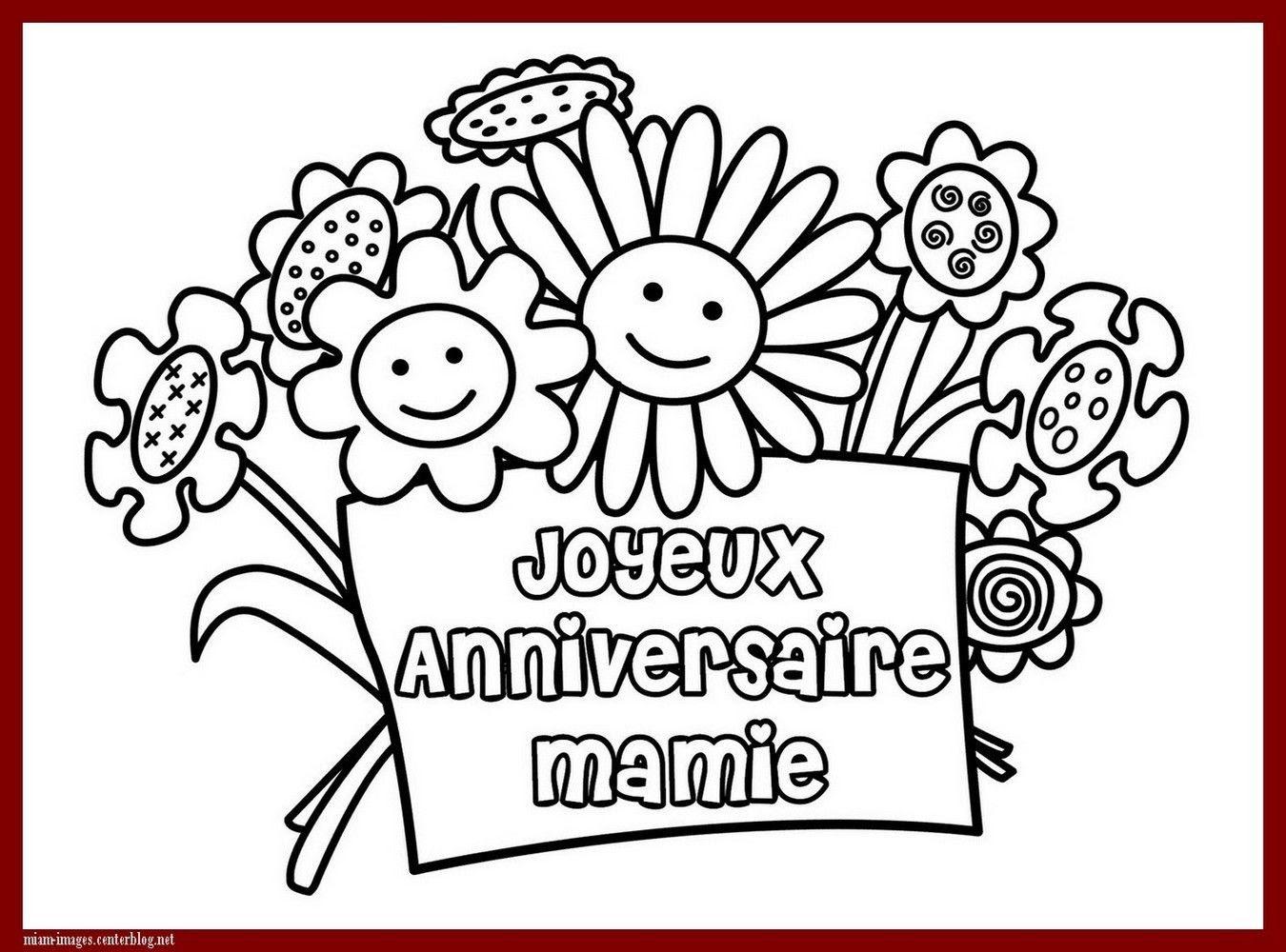 Anniversaire Coloriage Joyeux Anniversaire Mamie