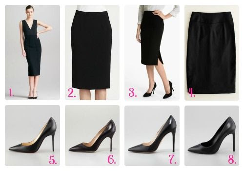 Black Skirt with Black Point-Toe Pumps