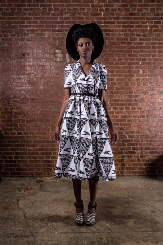 NEW The Portia Dress- African Print 100% Holland Wax Cotton Midi Dress