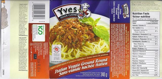 Yves Veggie Cuisine Italian Veggie Ground Round