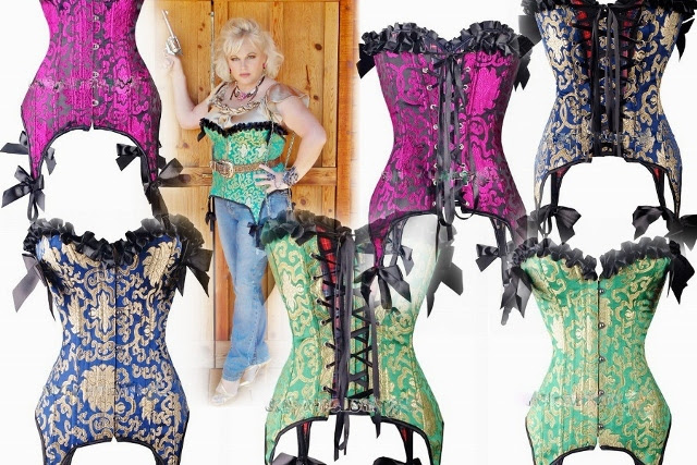 CORSET - KELLY GREEN or FUCHSIA or BLUE & Gold Brocade Satin Corset Bustier with Black Ruffles Lace Up Back and  Garter Suspenders FREE Thong G String