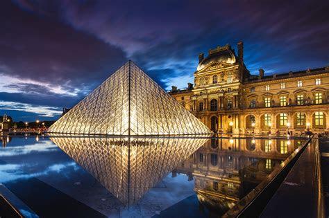 hintergrundbilder paris frankreich  louvre nacht staedte