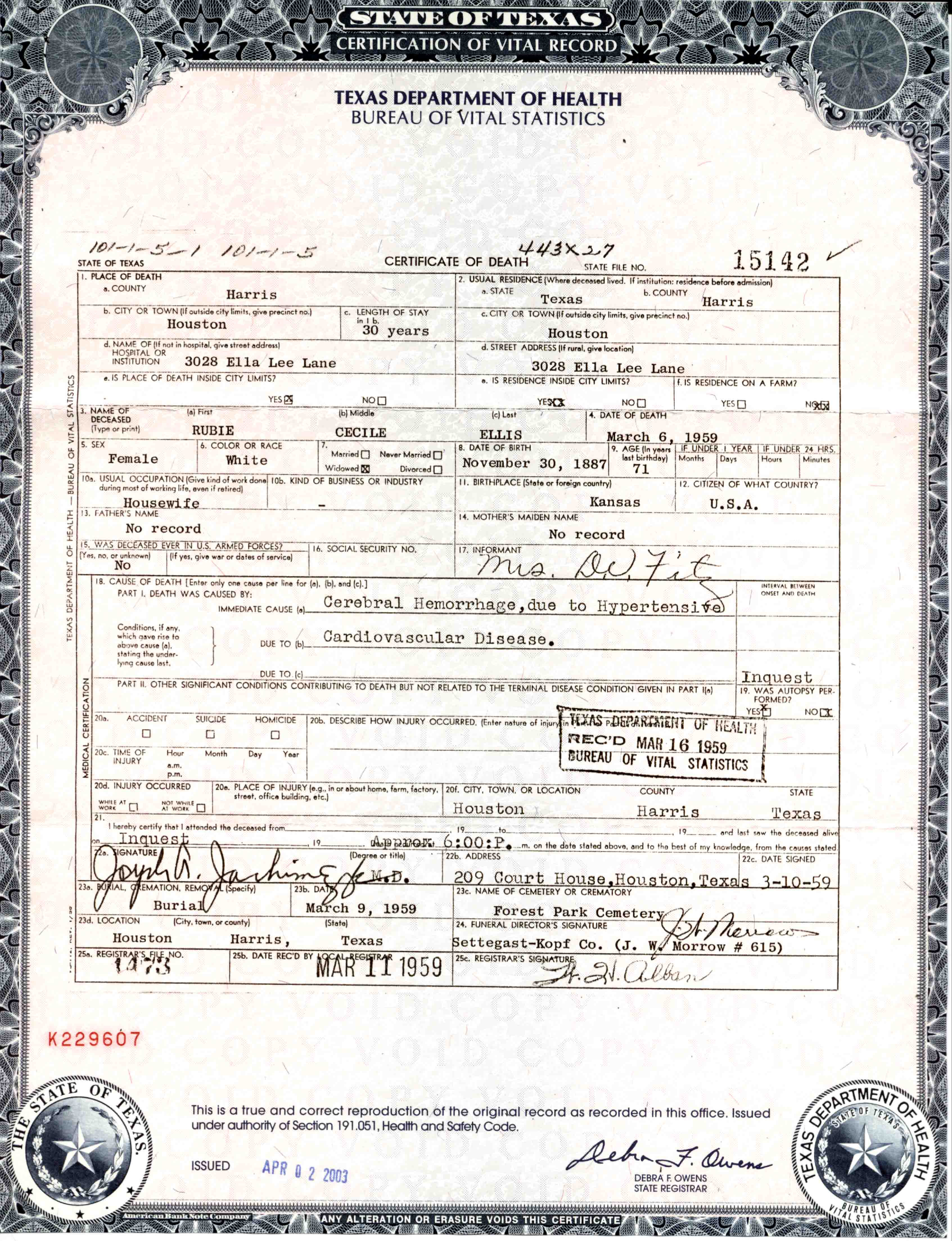 Image result for birth certificate houston texas