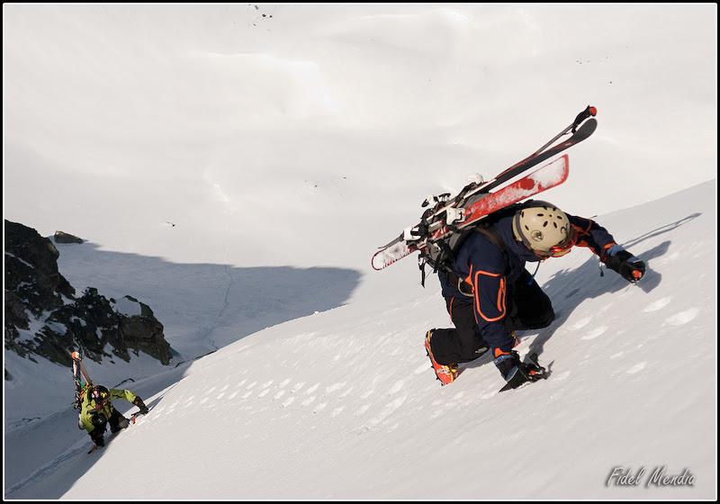 Ian y Andoni subiendo la norte del Tablato