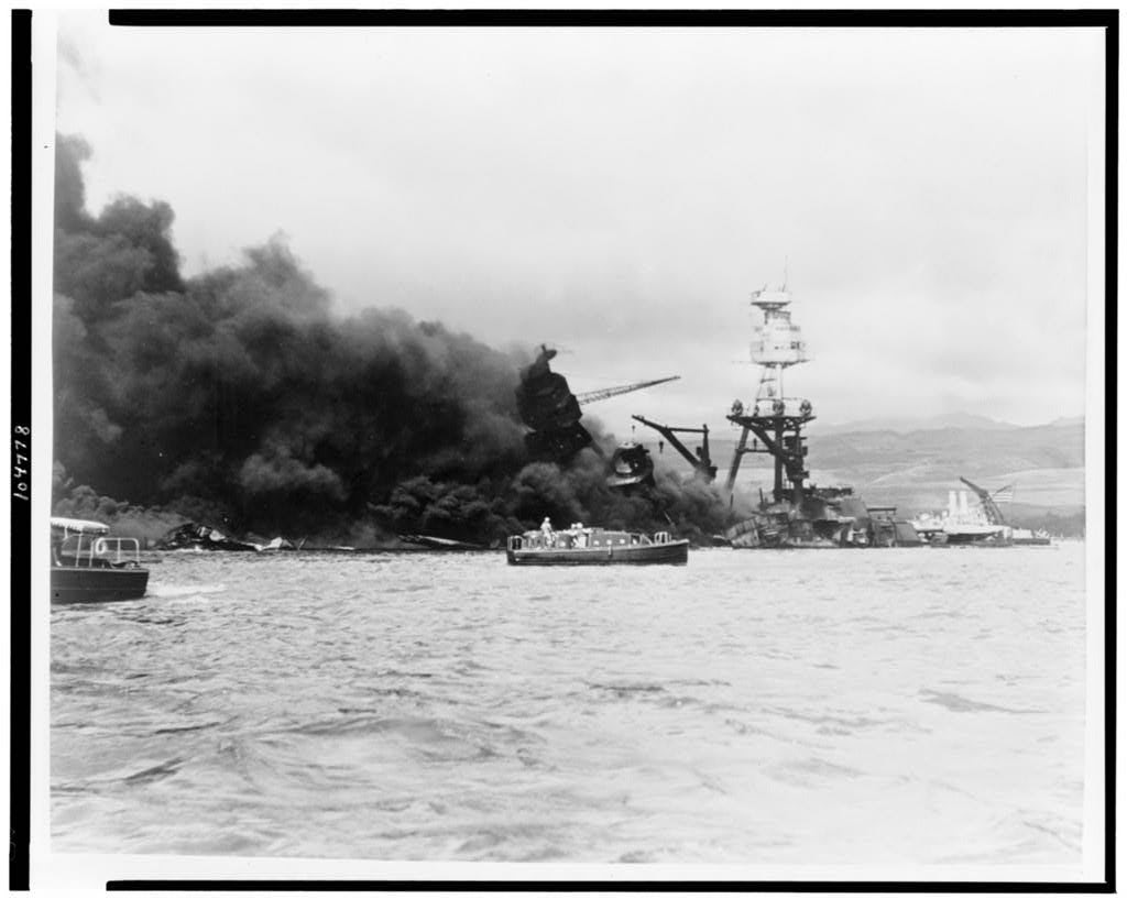 USS Arizona, at height of fire, following Japanese aerial attack on Pearl Harbor. (Photo: Library of Congress Prints and Photographs)