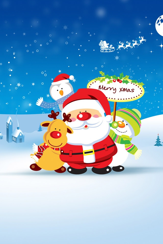 Winter Blues Christmas Funny  iPad iPhone HD Wallpaper Free