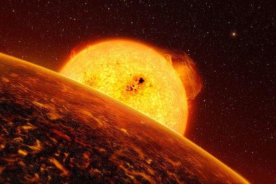 Ilustração de Corot-7b, o primeiro planeta rochoso encontrado fora do Sistema Solar, achado por sonda europeira